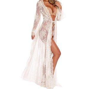 Sheer Lace Lingerie Kimono Robe Swimsuit Cover Up